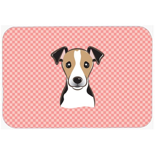 Carolines Treasures BB1261MP Checkerboard Pink Jack Russell Terrier Mouse Pad Hot Pad Or Trivet 7.75 x 9.25 In.