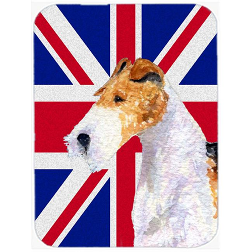 Carolines Treasures SS4920MP 7.75 x 9.25 In. Fox Terrier With English Union Jack British Flag Mouse Pad Hot Pad Or Trivet