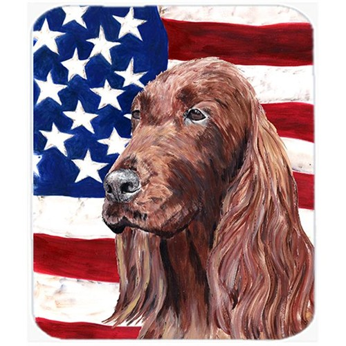 Carolines Treasures SC9510MP 7.75 x 9.25 In. Irish Setter USA American Flag Mouse Pad Hot Pad or Trivet