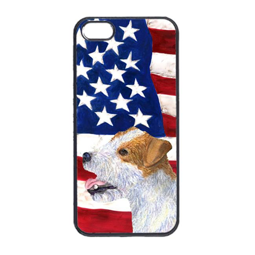 Carolines Treasures SS4031IP4 USA American Flag With Jack Russell Terrier Iphone 4 Cover