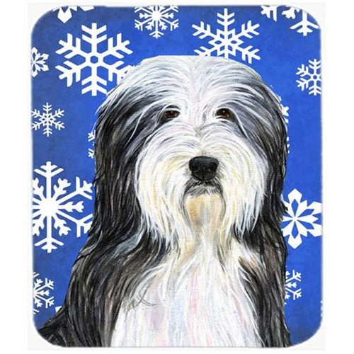 Carolines Treasures SS4635MP Bearded Collie Winter Snowflakes Holiday Mouse Pad Hot Pad or Trivet
