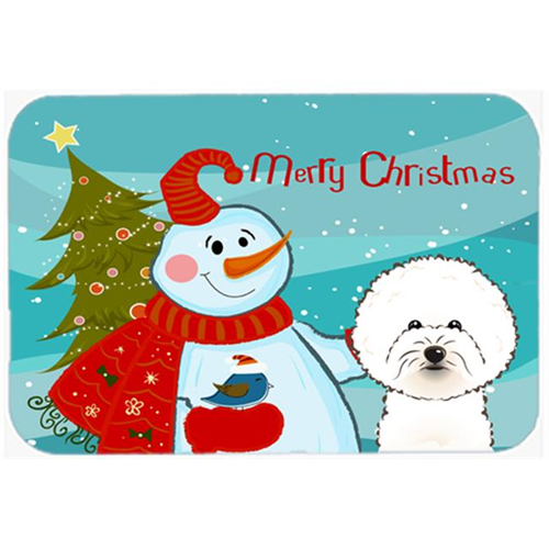 Carolines Treasures BB1837MP Snowman With Bichon Frise Mouse Pad Hot Pad & Trivet