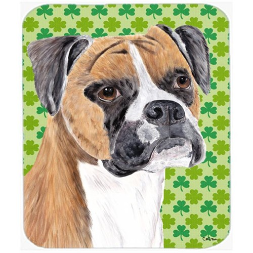 Carolines Treasures SC9310MP Boxer St. Patricks Day Shamrock Portrait Mouse Pad Hot Pad or Trivet