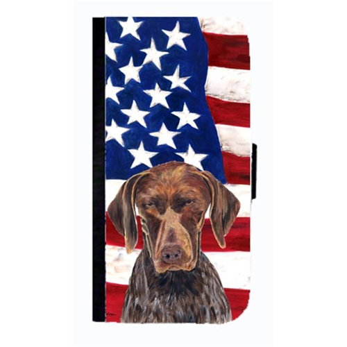 Carolines Treasures SC9034NBGALAXYS4 USA American Flag German Shorthaired Pointer Cell Phone Case Cover For Galaxy 4S