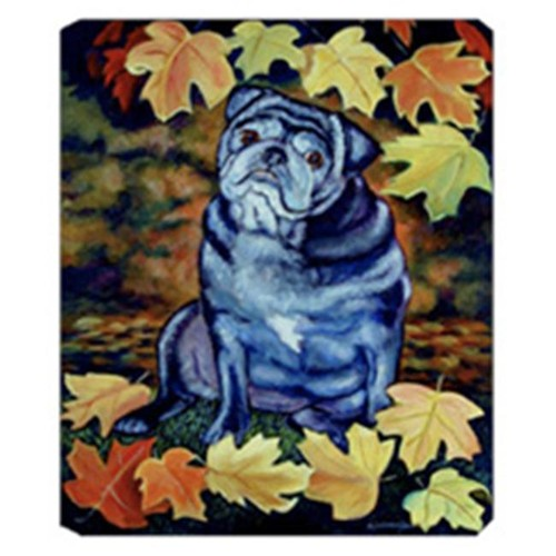 Carolines Treasures 7159MP 8 x 9.5 in. Old Black Pug in Fall Leaves Mouse Pad Hot Pad Or Trivet