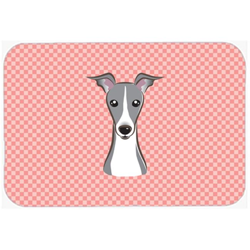 Carolines Treasures BB1236MP Checkerboard Pink Italian Greyhound Mouse Pad Hot Pad Or Trivet 7.75 x 9.25 In.