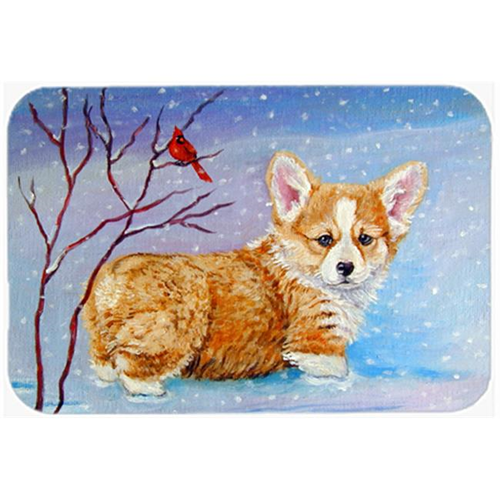 Carolines Treasures 7327MP Corgi Pup Snow Cardinal Mouse Pad Hot Pad & Trivet
