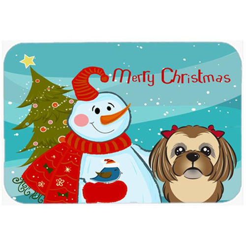 Carolines Treasures BB1869MP Snowman With Chocolate Brown Shih Tzu Mouse Pad Hot Pad & Trivet