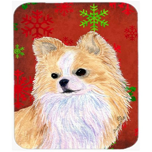 Carolines Treasures SS4680MP Chihuahua Red And Green Snowflakes Christmas Mouse Pad Hot Pad Or Trivet