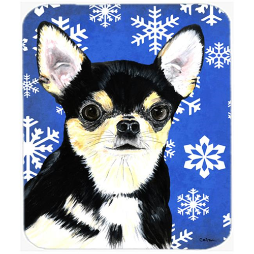 Carolines Treasures SC9399MP Chihuahua Winter Snowflakes Holiday Mouse Pad Hot Pad Or Trivet