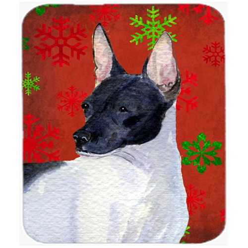 Carolines Treasures SS4687MP Rat Terrier Red and Green Snowflakes Christmas Mouse Pad Hot Pad or Trivet