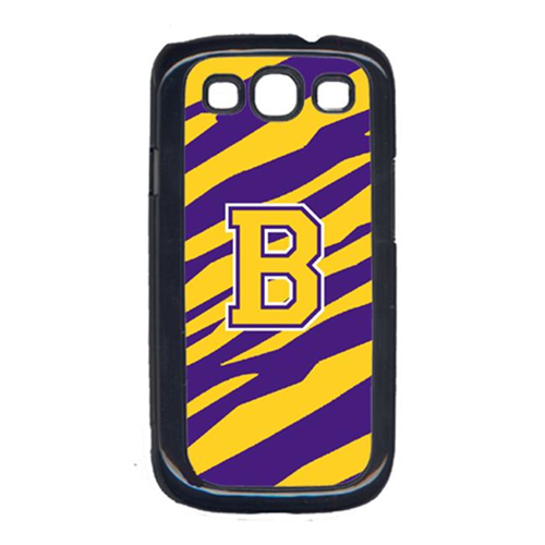 Carolines Treasures CJ1022-B-GALAXYSIII Tiger Stripe - Purple Gold Letter B Monogram Initial Galaxy S111 Cell Phone Cover