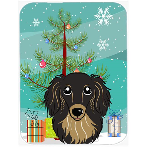 Carolines Treasures BB1585MP Christmas Tree And Longhair Black And Tan Dachshund Mouse Pad Hot Pad & Trivet
