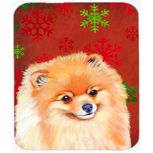 Carolines Treasures LH9350MP Pomeranian Red And Green Snowflakes Christmas Mouse Pad Hot Pad Or Trivet - 7.75 x 9.25 In.