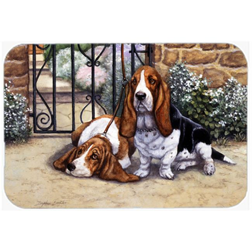 Carolines Treasures BDBA0312MP Basset Hound at the Gate Mouse Pad Hot Pad or Trivet