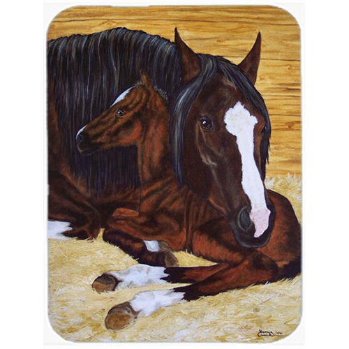 Carolines Treasures AMB1236MP Bay Mare Foal Horse Mouse Pad Hot Pad or Trivet