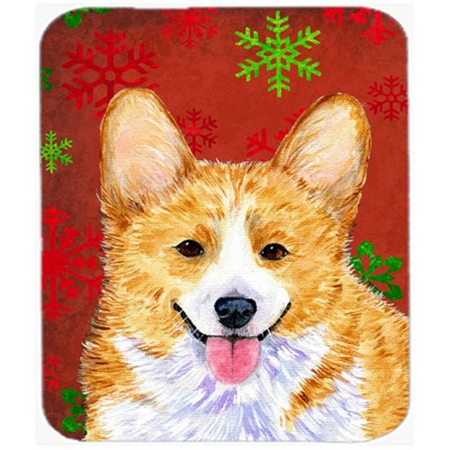 Carolines Treasures SS4693MP Corgi Red and Green Snowflakes Holiday Christmas Mouse Pad Hot Pad or Trivet