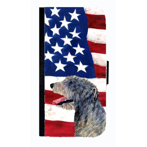 Carolines Treasures SS4033NBGALAXYS4 USA American Flag With Irish Wolfhound Cell Phone Case Cover For Galaxy 4S