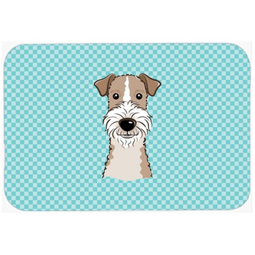 Carolines Treasures BB1185MP Checkerboard Blue Wire Haired Fox Terrier Mouse Pad Hot Pad Or Trivet 7.75 x 9.25 In.
