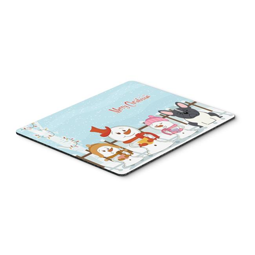Carolines Treasures BB2343MP Merry Christmas Carolers French Bulldog Black & White Mouse Pad Hot Pad or Trivet
