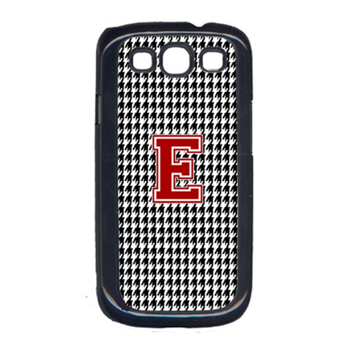Carolines Treasures CJ1021-E-GALAXYSIII 3 x 5 in. Houndstooth Black Letter E Monogram Initial Cell Phone Cover for Galaxy S111