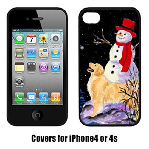 Carolines Treasures SS8579IP4 Golden Retriever With Snowman In Red Hat Iphone4 Cover