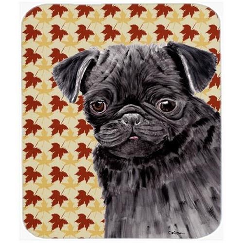 Carolines Treasures SC9206MP Pug Black Fall Leaves Portrait Mouse Pad Hot Pad Or Trivet