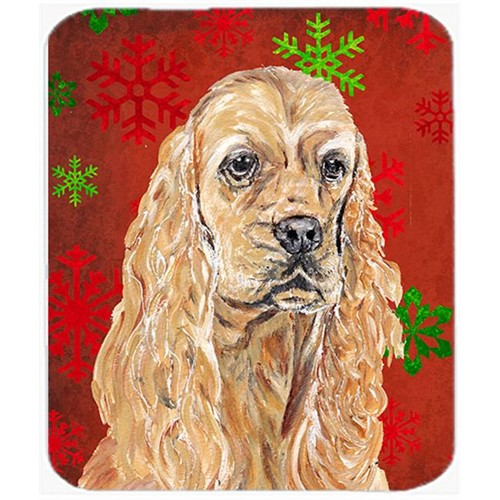 Carolines Treasures SC9584MP 7.75 x 9.25 in. Cocker Spaniel Red Snowflake Christmas Mouse Pad Hot Pad or Trivet