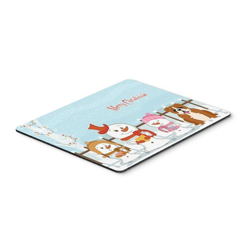 Carolines Treasures BB2451MP Merry Christmas Carolers English Bulldog Red & White Mouse Pad Hot Pad or Trivet