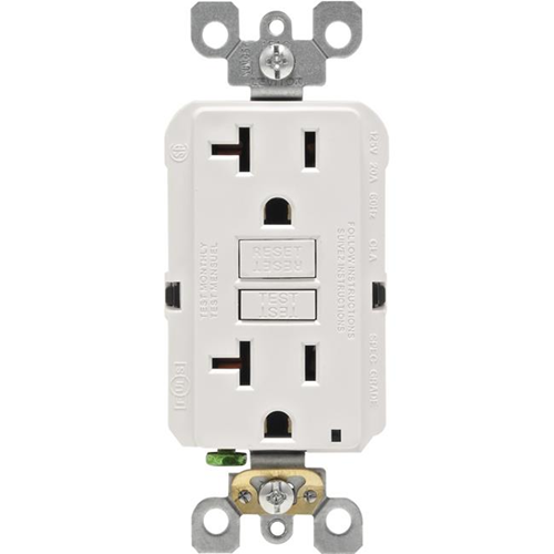 Leviton Mfg R02-GFNT2-0KW Self-Test GFCI Outlet White - 20 A & 125 V