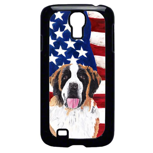 Carolines Treasures SC9027GALAXYS4 USA American Flag with Saint Bernard Cell Phone Cover GALAXY S4