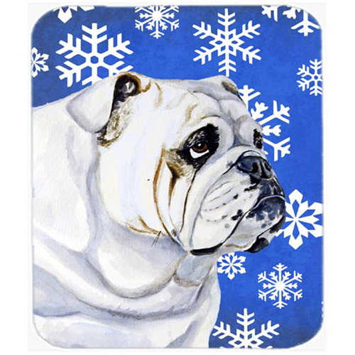 Carolines Treasures LH9274MP Bulldog English Winter Snowflakes Holiday Mouse Pad Hot Pad Or Trivet