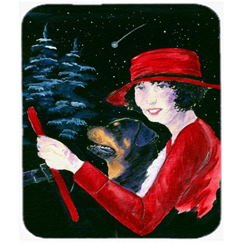Carolines Treasures SS8551MP Lady Driving With Her Rottweiler Mouse Pad Hot Pad Or Trivet