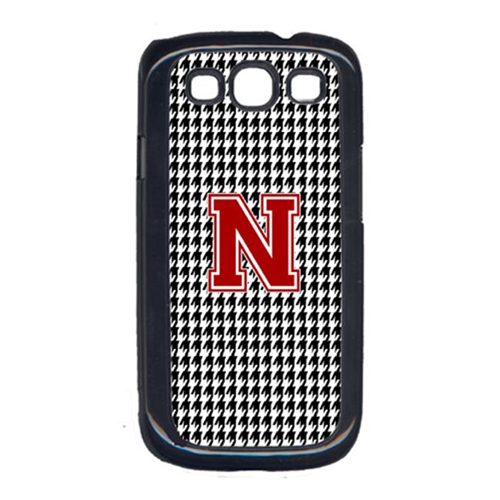 Carolines Treasures CJ1021-N-GALAXYSIII 3 x 5 in. Houndstooth Black Letter N Monogram Initial Cell Phone Cover for Galaxy S111