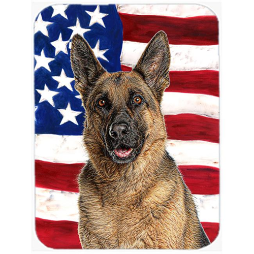 Carolines Treasures KJ1159MP USA American Flag with German Shepherd Mouse Pad Hot Pad or Trivet