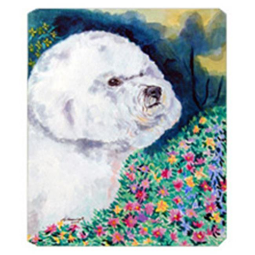 Carolines Treasures 7225MP 8 x 9.5 in. Bichon Frise in the Flowers Mouse Pad Hot Pad or Trivet