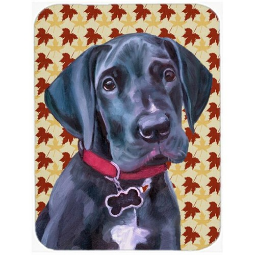 Carolines Treasures LH9558MP Black Great Dane Puppy Fall Leaves Mouse Pad Hot Pad & Trivet