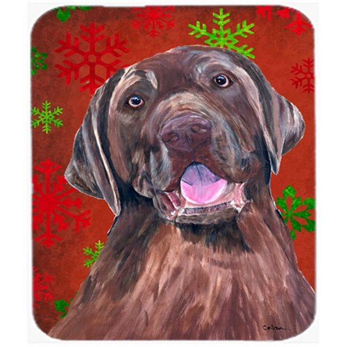 Carolines Treasures SC9424MP Labrador Red And Green Snowflakes Christmas Mouse Pad Hot Pad Or Trivet