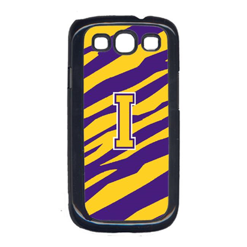 Carolines Treasures CJ1022-I-GALAXYSIII Tiger Stripe - Purple Gold Letter I Monogram Initial Galaxy S111 Cell Phone Cover