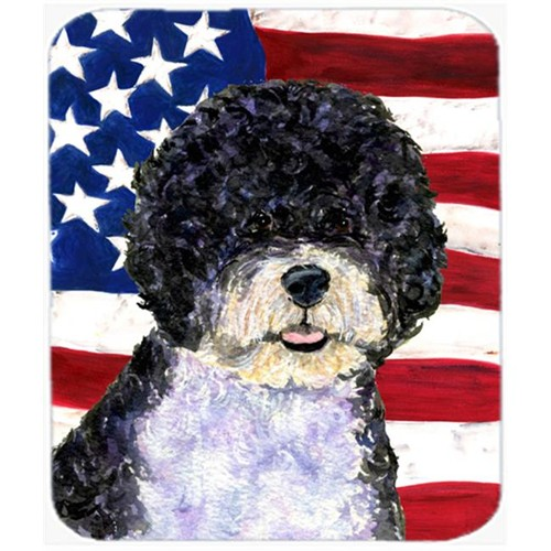 Carolines Treasures SS4053MP Usa American Flag With Portuguese Water Dog Mouse Pad Hot Pad Or Trivet