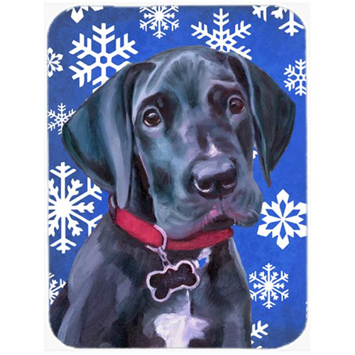 Carolines Treasures LH9586MP Black Great Dane Puppy Winter Snowflakes Holiday Mouse Pad Hot Pad & Trivet