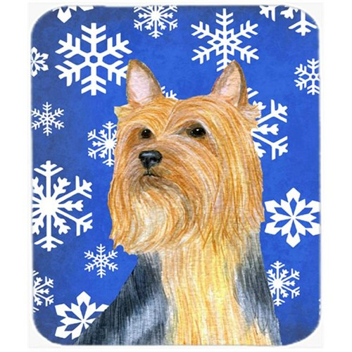 Carolines Treasures LH9271MP Silky Terrier Winter Snowflakes Holiday Mouse Pad Hot Pad Or Trivet