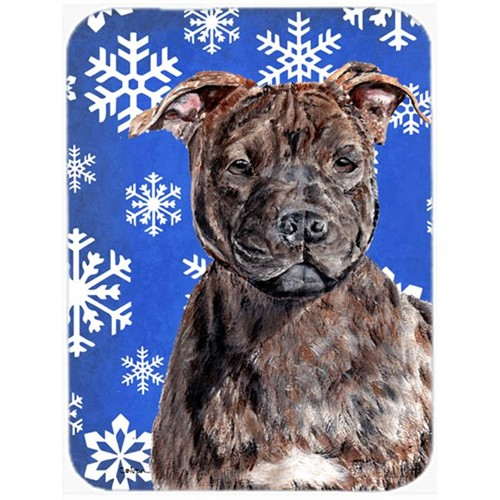 Carolines Treasures SC9777MP Staffordshire Bull Terrier Staffie Winter Snowflakes Mouse Pad Hot Pad Or Trivet 7.75 x 9.25 In.