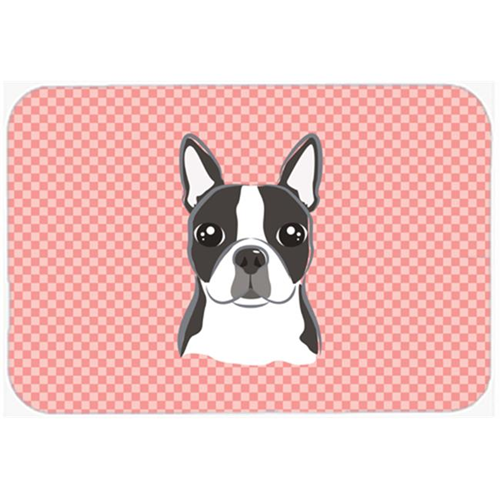Carolines Treasures BB1203MP Checkerboard Pink Boston Terrier Mouse Pad Hot Pad Or Trivet 7.75 x 9.25 In.