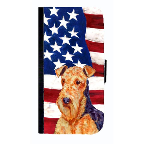 Carolines Treasures LH9005NBGALAXYS4 USA American Flag With Airedale Cell Phonebook Case Cover For Galaxy 4S