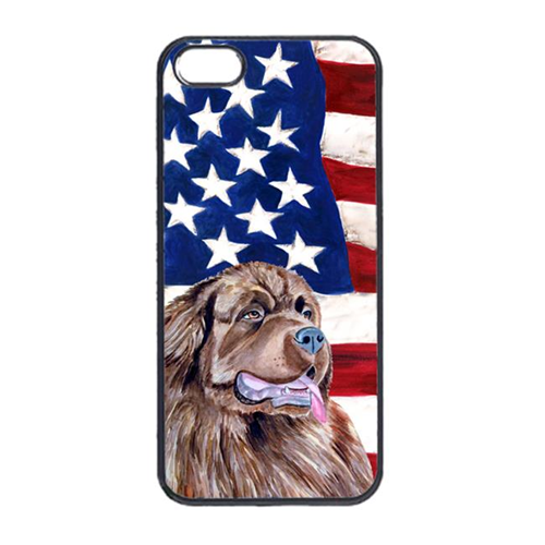 Carolines Treasures LH9024IP4 USA American Flag With Newfoundland Iphone 4 Cover