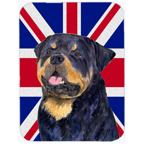Carolines Treasures SS4966MP 7.75 x 9.25 In. Rottweiler With English Union Jack British Flag Mouse Pad Hot Pad Or Trivet