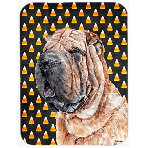 Carolines Treasures SC9647MP Shar Pei Candy Corn Halloween Mouse Pad Hot Pad Or Trivet 7.75 x 9.25 In.