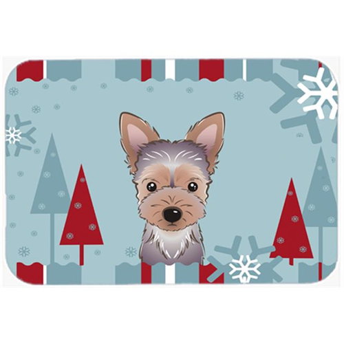 Carolines Treasures BB1728MP Winter Holiday Yorkie Puppy Mouse Pad Hot Pad & Trivet