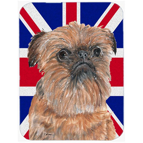 Carolines Treasures SC9864MP 7.75 x 9.25 In. Brussels Griffon With Engish Union Jack British Flag Mouse Pad Hot Pad Or Trivet